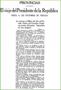 Visita Presidente de La Republica.05-1933.