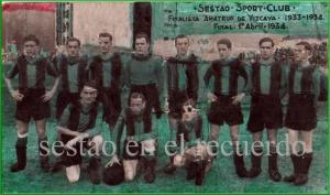 Sestao finalista amateur 1933-1934. San Mames. Final 1-4-1934.