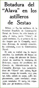 Botadura del Alava. Mayo de 1943.