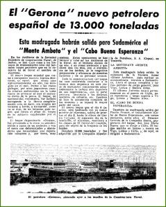 Botadura del petrolero Gerona. Octubre de 1942.