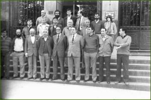 Alcalde y concejales de la primera corporación democrática en el Ayuntamiento de Sestao. 1-1-80
