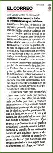 Reseña en El Correo. 26-01-2015.