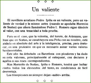 Crónica de Pedro Ipiña. Morenito de Sestao.