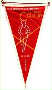 Banderín del Club Deportivo San Fernando. XV trofeo Carlos Diez. Sestao. 1960.