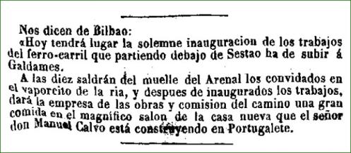 Inauguración de la linea de ferrocarril Sestao-Galdames. Febrero de 1872.