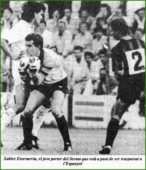 Javier Etxebarria ficha por el Español. 1987. Curiosidad tuvimos otro portero con el mismo nombre y apellido que también jugó en el Español.