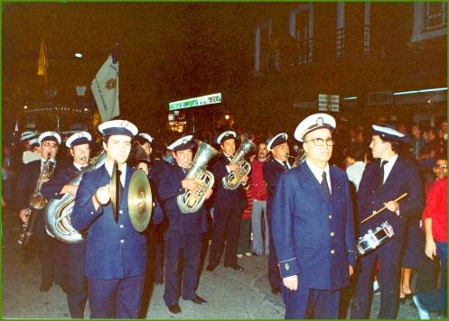 La Banda Municipal en un recibimiento a Kaiku. Años 80.