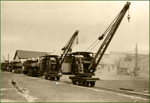 La Vizcaya. Movimiento de grúas locomóvil. Años 10.