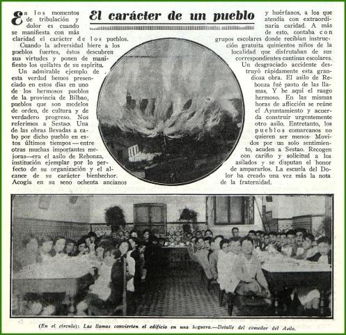 Crónica sobre el incendio del Asilo de Rebonza. Diciembre de 1929.