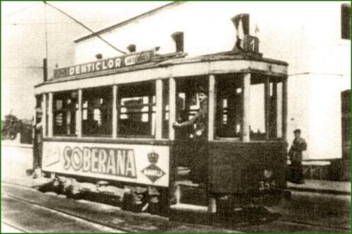Tranvía a su paso por Sestao. 1908.