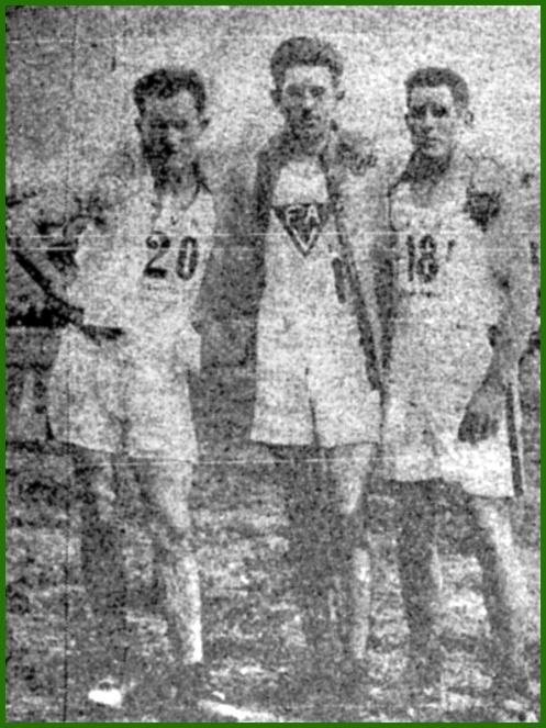 Amador Palma (en el centro) con Campo (izq.) y Oyarbide. Campeón de España. Marzo de 1927.