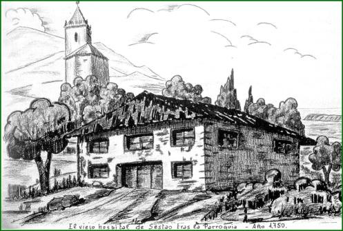 El viejo hospital tras la parroquia. 1750.